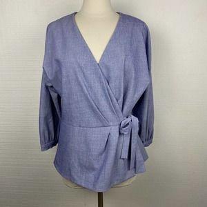 Halogen Chambray Wrap Peplum Shirt 3/4 Sleeve Blue
